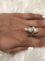 Mesés ezüst gyűrű igazgyöngyökkel 2cm átmero
