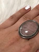 Mesés ezüst gyűrű rózsakvarc 18mm átmero