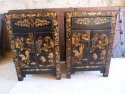 Tradicionális kézzel festett, pillangós kínai éjjeli szekrény