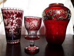 2 db. régi üveg váza.