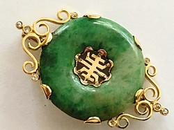 Francia Szecessziós 18 K Arany Jade Bross Gyémánt Antik Ritkaság ! ART NOVEAU