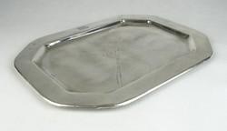 0S974 Antik jelzett ezüstözött alpakka tálca