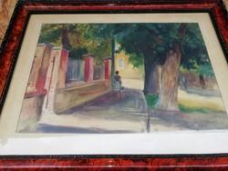 Festmény Tamás Ervin akvarell, kisutca,