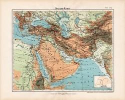 Nyugat - Ázsia hegy- és vízrajzi térkép 1906, magyar atlasz, magyar nyelvű, eredeti, régi