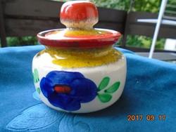 Majolika-számozott-kézzel festett cukortartó-vidám színekkel-ZELLER KERAMIK-
