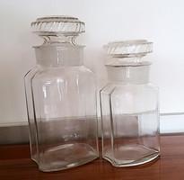 Régi nagy patikaüveg gyógyszertári dugós palack 2 db
