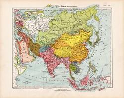 Ázsia politikai térkép 1906, magyar atlasz, eredeti, régi, magyar nyelvű, politika, Kína, Japán