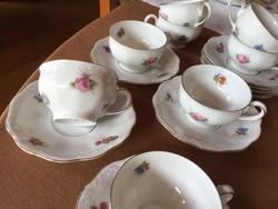 KPM Rubens porcelán kávés csészék alátéttel, 8 db