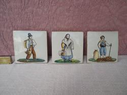 Csempe - HÁROM DARAB - Régi - kézzel festett - számozott - nagyon vastag Osztrák   16 x 16 x 2 cm