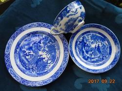 Japán Tojáshéj porcelán-Kobaltkék-minták teás reggeliző készlet