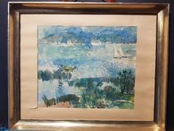 """Gulyás Dénes akvarell 1981 """" Balaton """""""