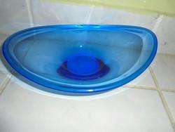 Szépséges kék színű Bohemia üveg kínáló/asztalközép