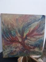Nagy fa-motívum, nyugtalanító olajfestmény, 72x72 cm