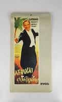 0T084 Mozifilm plakát naptár az 1930-40-es évekből