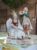 Zenélő rokokó pár porcelán figura GDR -70-es évekből