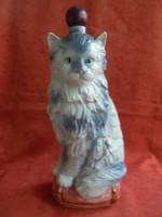 Olasz porcelán kézzel festett macska figurás italtartó