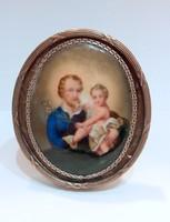 Szent József a gyermek Jézussal porcelánra festett miniatura/miniatűr