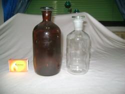 Régi gyógyszeres, patika üveg - két darab