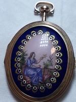 XVII.sz bol való 14k arany eleje égetett zománczal díszített fényképtartó medál