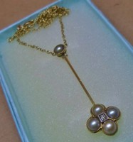 Szépen megőrzött antik arany akoya gyöngy,gyémánt nyakék
