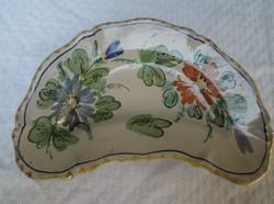 Olasz - régi - nagy 23 x 14 cm kerámia csontos tányér