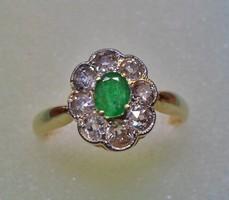 Szépen megőrzött antik arany smaragd,gyémánt gyűrű 0,72ct