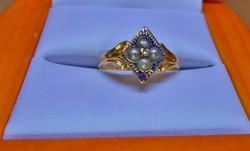 Csodálatos ritka antik arany gyémánt,akoya gyöngy gyűrű