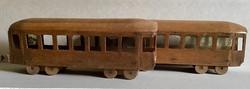 Nagyméretű fa villamos régi gyermekjáték 1948-1950