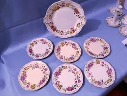 Zsolnay pillangó mintás 6 személyes süteményes készlet