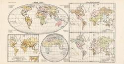 Világtérkép 1913, A Föld népei, eredeti, teljes atlasz, Kogutowicz Manó, térkép, vallás, régi, nép