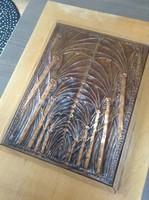 Régi iparművészeti réz falikép fatáblán