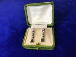 Gyönyörű Fülbevaló pár, Briliáns(cca:1ct) Smaragddal(cca.0,50ct)
