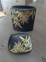 Régi Rosenthal Studio Line fekete porcelán váza tálkával kelei motívummal