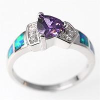 Kék tűzopál gyűrű lila csepp alakú kővel 8-as  ÚJ!