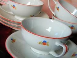 RFH porcelán csésze és kistányér, 4 szett egyben 1919-39, csont színű alap