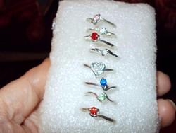 Egyben 8 db színes cirkon Fehérarany b. Gyűrű csomag 18-as