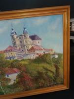 Jó színvilágú tájkép , cca 45x70-es, szép keretben,   Ajándék!!! Olvass lent!