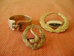 2 db Ezüst nagyméretű babérkoszorú kitüzö  / ajándék ezüst gyűrű ....