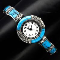Gyönyörű kék türkiz markazit kövekkel gyöngyház szamlapos 925 ezüst uj karóra