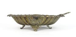 0T426 Antik nagyméretű réz asztalközép kínáló