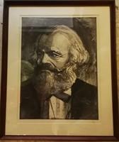 Marx portré keretezett rézkarc