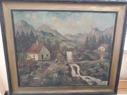 Hatalmas Antik Tájkép 120 x 100 cm
