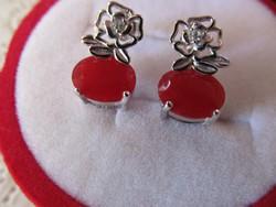 Gyönyörű rubin köves 925 ezüst fülbevaló