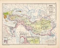 Oriens térkép, kiadva 1913, eredeti, atlasz, történelmi, Kogutowicz Manó, régi, antik, Ázsia
