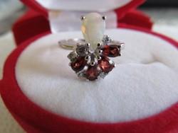 Természetes szivárvány opál & gránát 925 ezüst 14k arany gyűrű 54-es