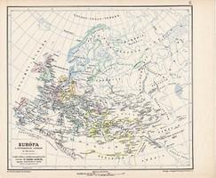 Európa térkép a népvándorlás korában 500, kiadva 1913, eredeti, atlasz, Kogutowicz Manó, történelmi