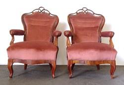 0T458 Antik neobarokk karfás fotel pár