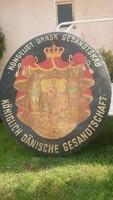 1.5 méteres zománctábla,címer,tábla,Dán Királyi követség,loft,dekoráció,egyedi?
