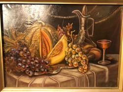 Régi dekoratív festmény: csendélet gyümölcsökkel.