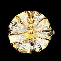 Designer 2 tónusú fehér sárga 14 k arany 925 ezüst Hangya levélgyűrű mérete 59
